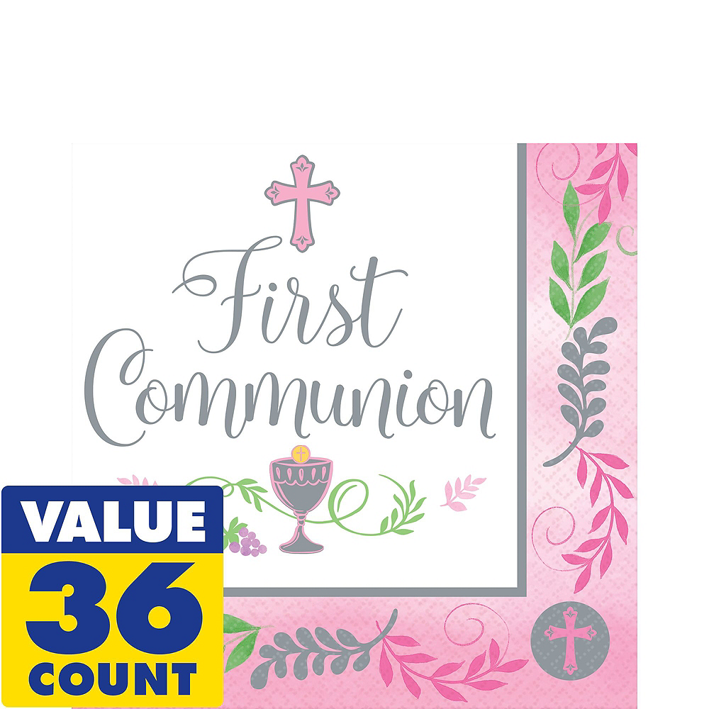Girl's First Communion Tableware Kit for 18 Guests Image #5