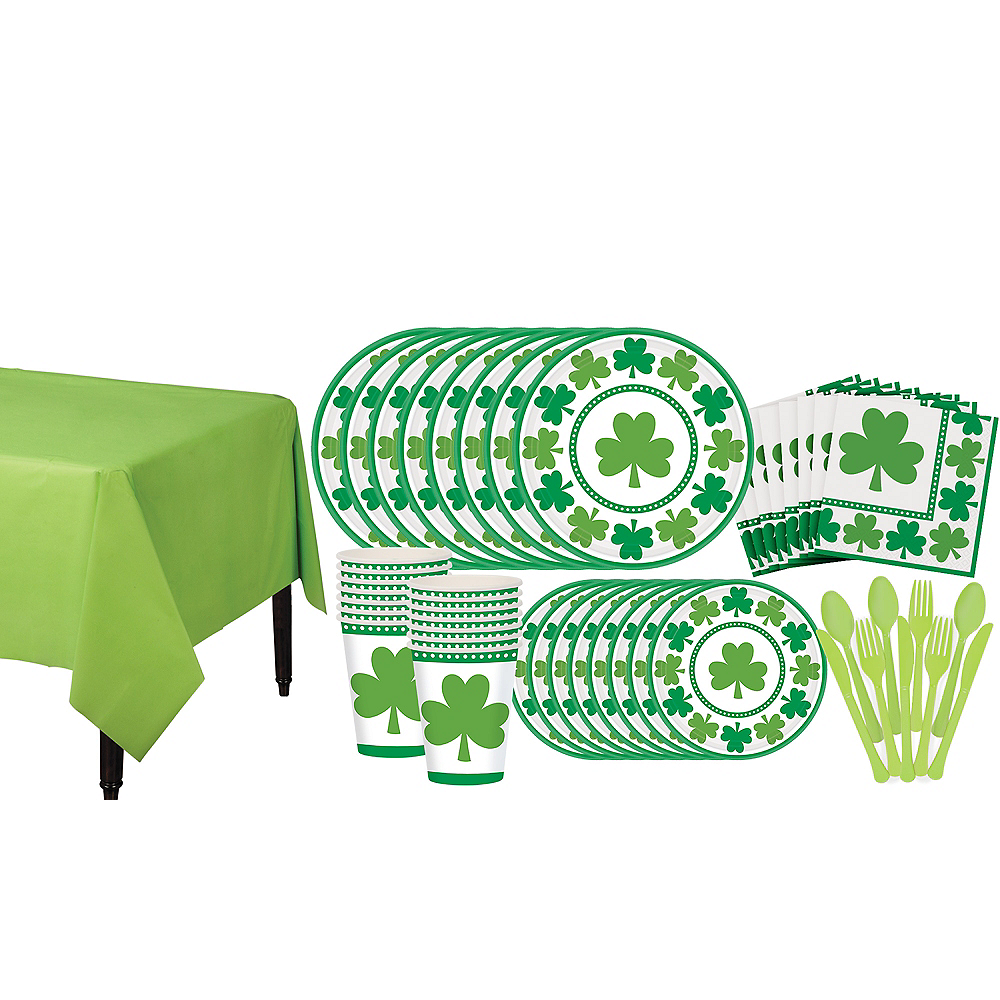 Lucky Shamrock Value Tableware Kit for 16 Guests Image #1
