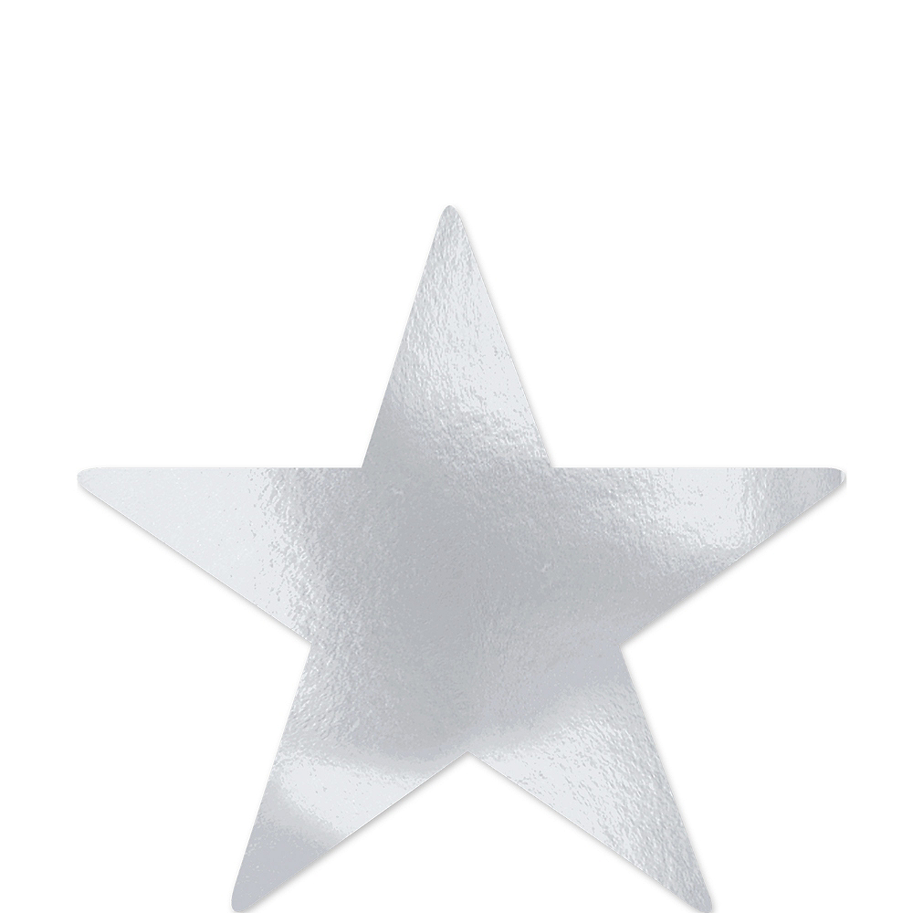 Large Silver Star Cutouts 12ct Image #1