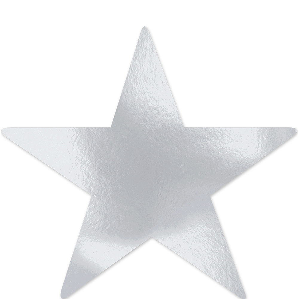 Extra-Large Silver Star Cutouts 12ct Image #1