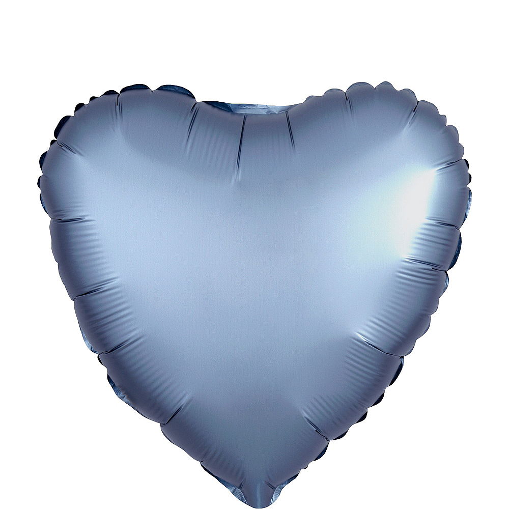 17in Gray Satin Heart Balloon Image #1
