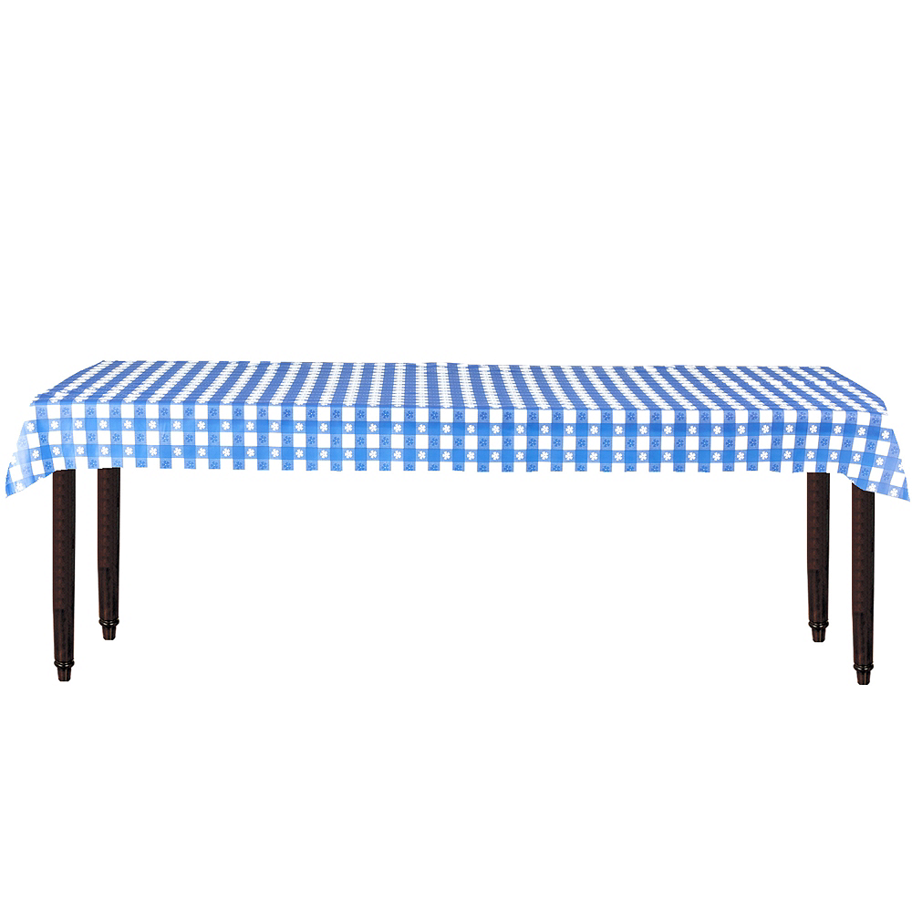 Big Party Pack Blue Gingham Plastic Table Cover Roll 40in X 100ft