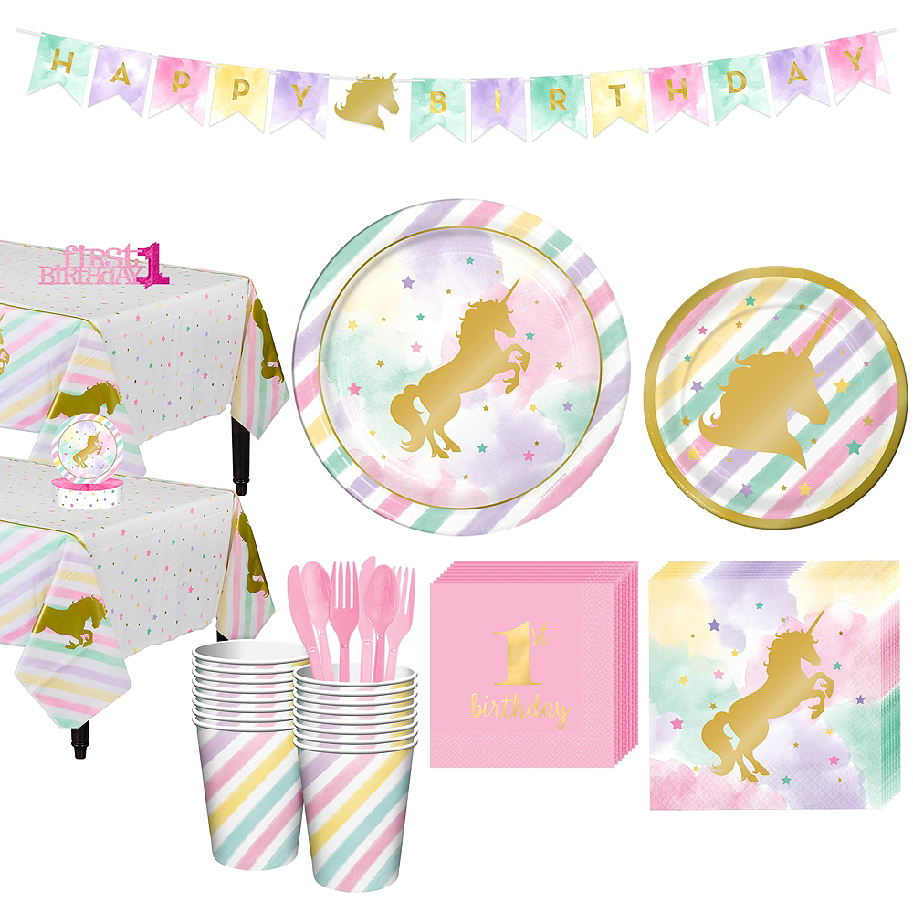 Sparkling Unicorn 1st Birthday Party Kit for 16 Guests Image #1