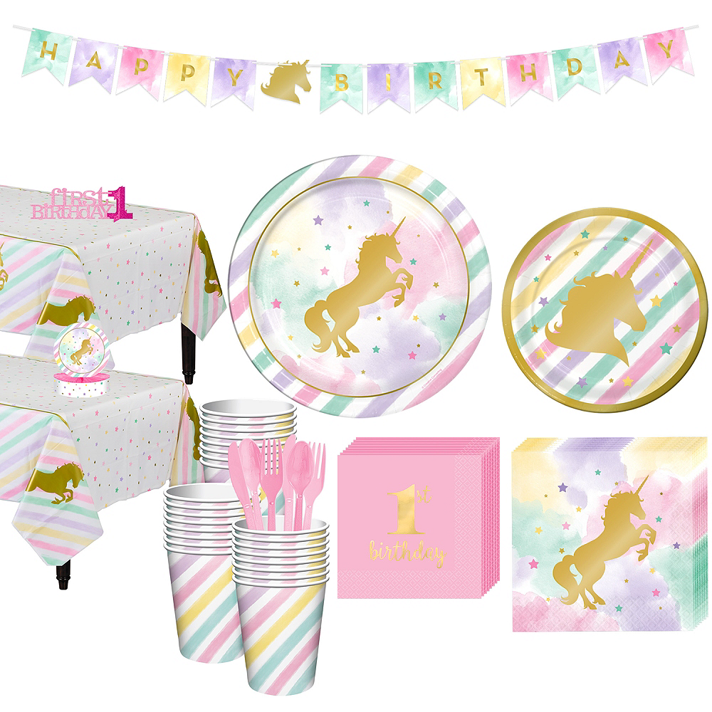 Nav Item For Sparkling Unicorn 1st Birthday Party Kit 32 Guests Image 1
