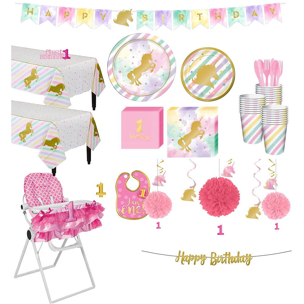 Sparkling Unicorn 1st Birthday Deluxe Party Kit For 32 Guests