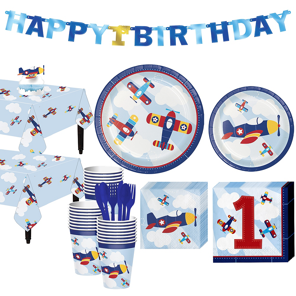 Airplane 1st Birthday Party Kit for 32 Guests Image #1