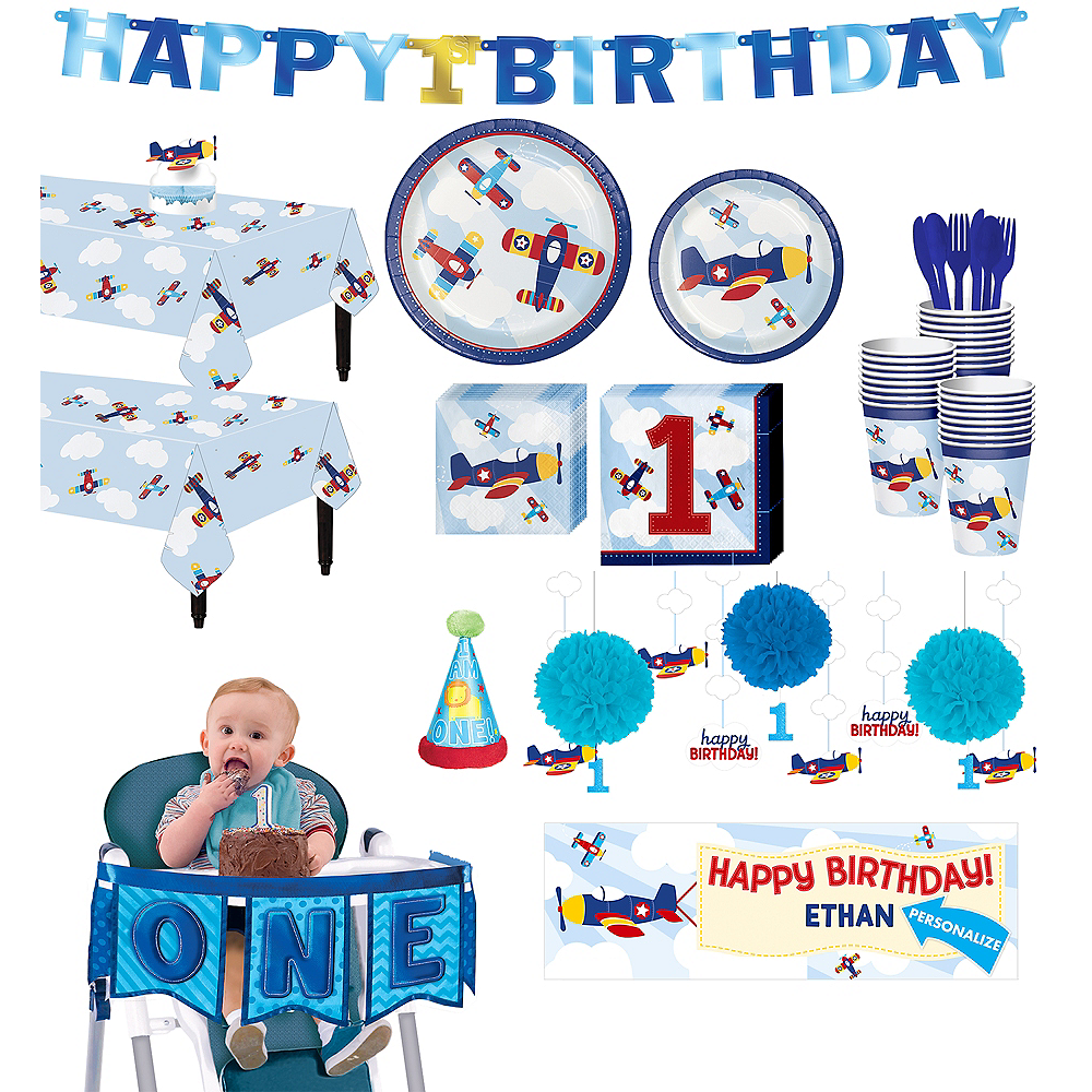 Airplane 1st Birthday Deluxe Party Kit for 32 Guests Image #1