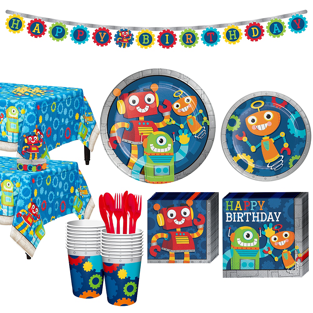 Robot 1st Birthday Party Kit for 16 Guests Image #1