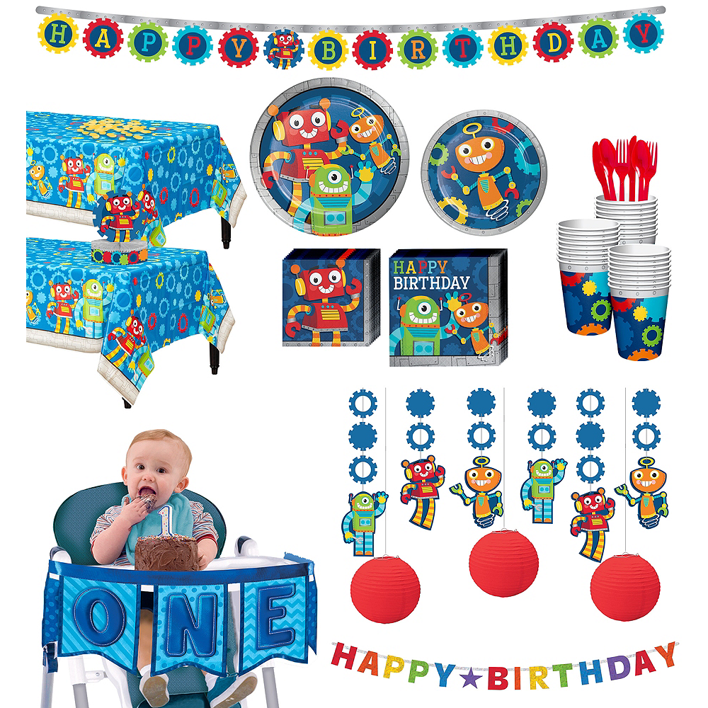 Robot 1st Birthday Deluxe Party Kit for 32 Guests Image #1