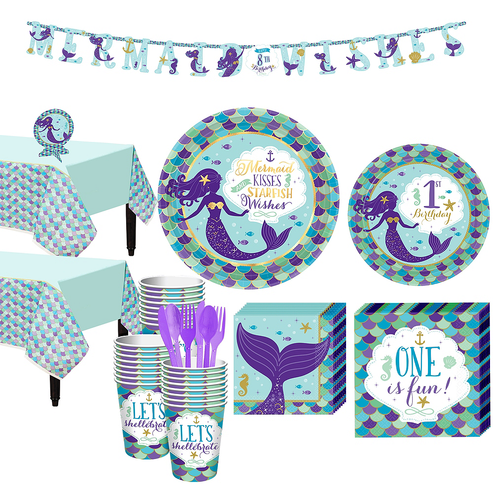 Mermaid Wishes 1st Birthday Party Kit For 32 Guests Image 1