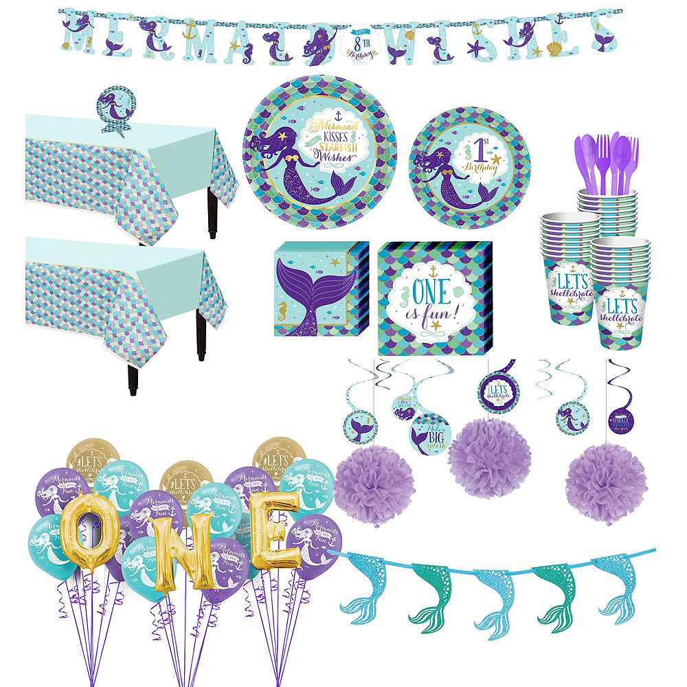 Mermaid Wishes 1st Birthday Deluxe Party Kit For 32 Guests Image 1