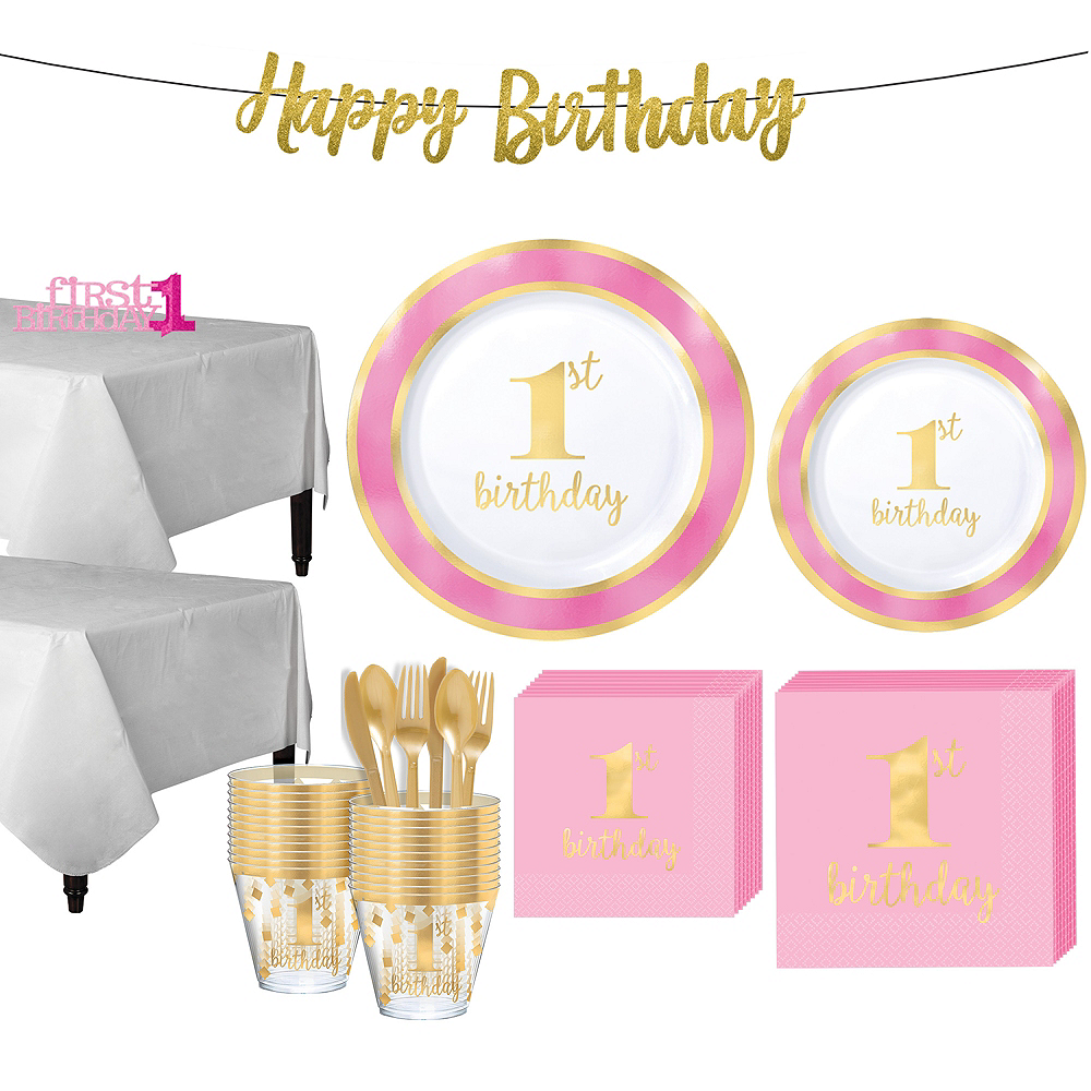 Nav Item For Pink Gold Premium 1st Birthday Party Kit 10 Guests Image