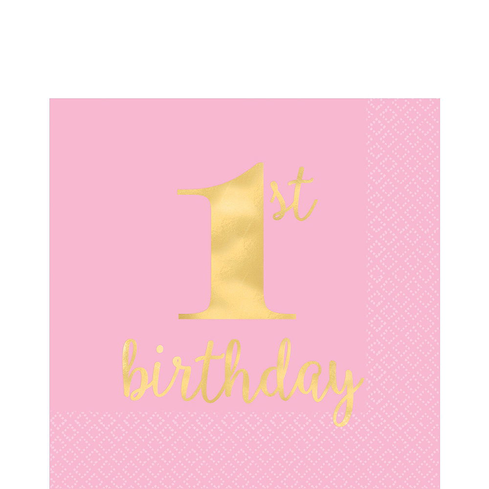 Pink & Gold Premium 1st Birthday Party Kit for 10 Guests Image #5