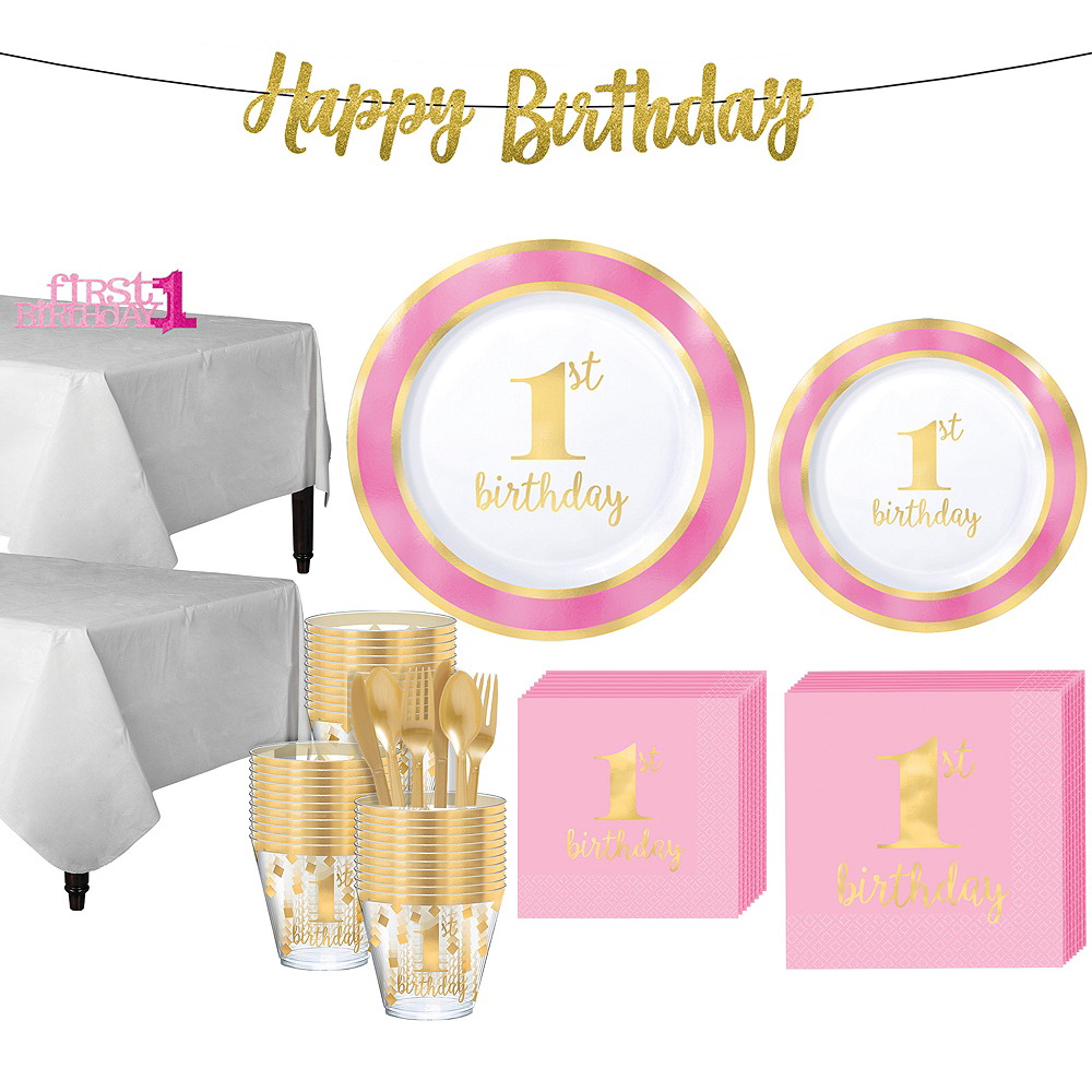 Pink & Gold Premium 1st Birthday Party Kit for 20 Guests Image #1