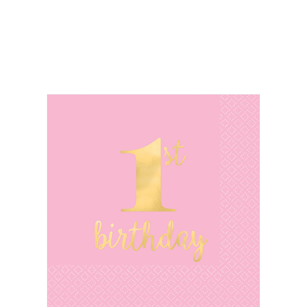 Pink & Gold Premium 1st Birthday Party Kit for 20 Guests Image #4