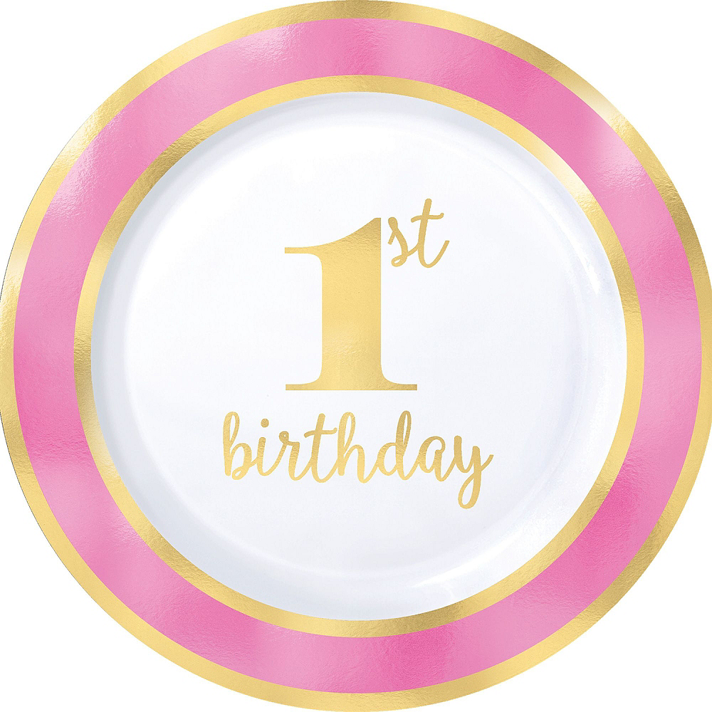 Pink & Gold Premium 1st Birthday Deluxe Party Kit for 20 Guests Image #3