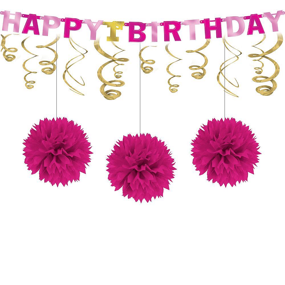 Pink & Gold 1st Birthday Decorating Kit Image #1