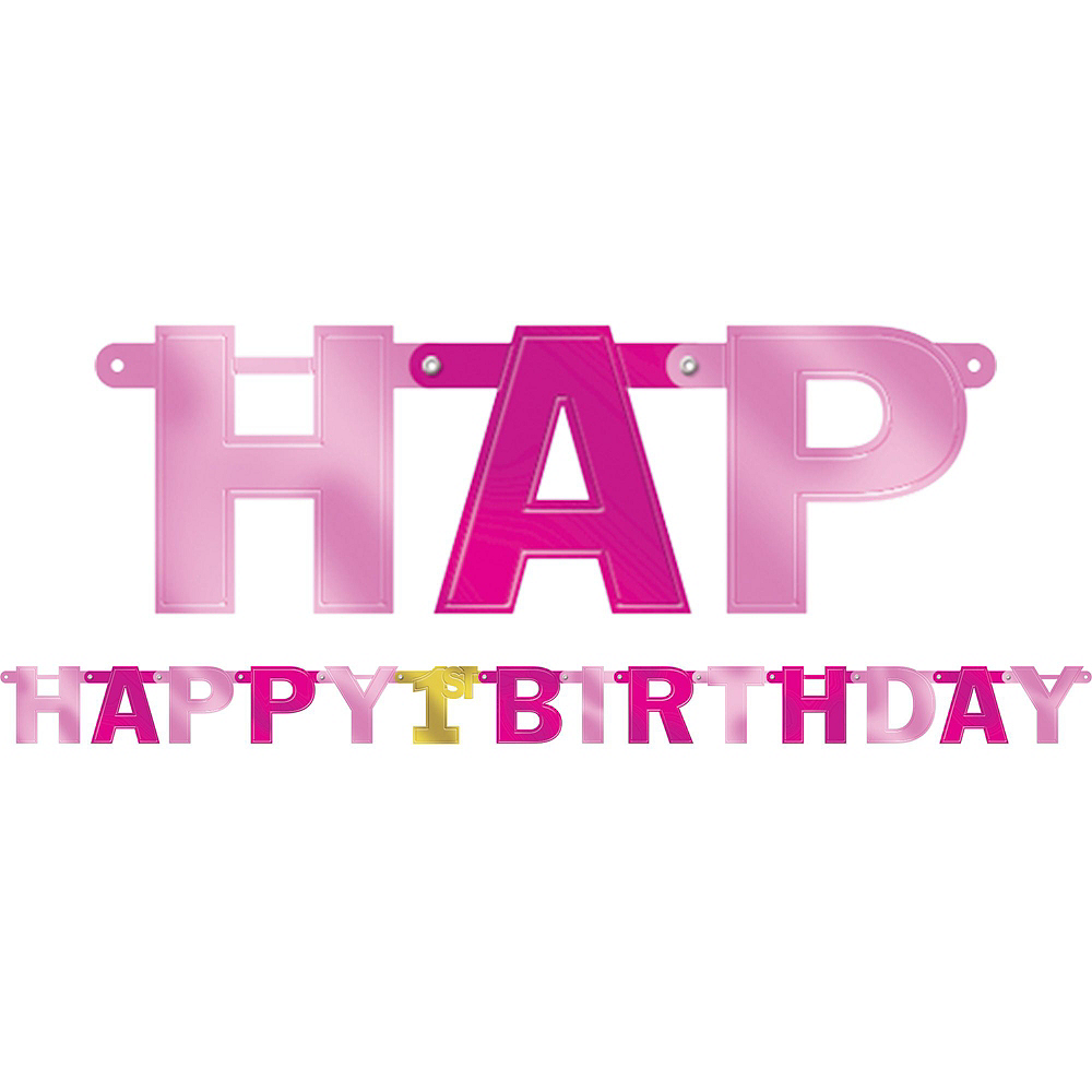 Pink & Gold 1st Birthday Decorating Kit Image #2