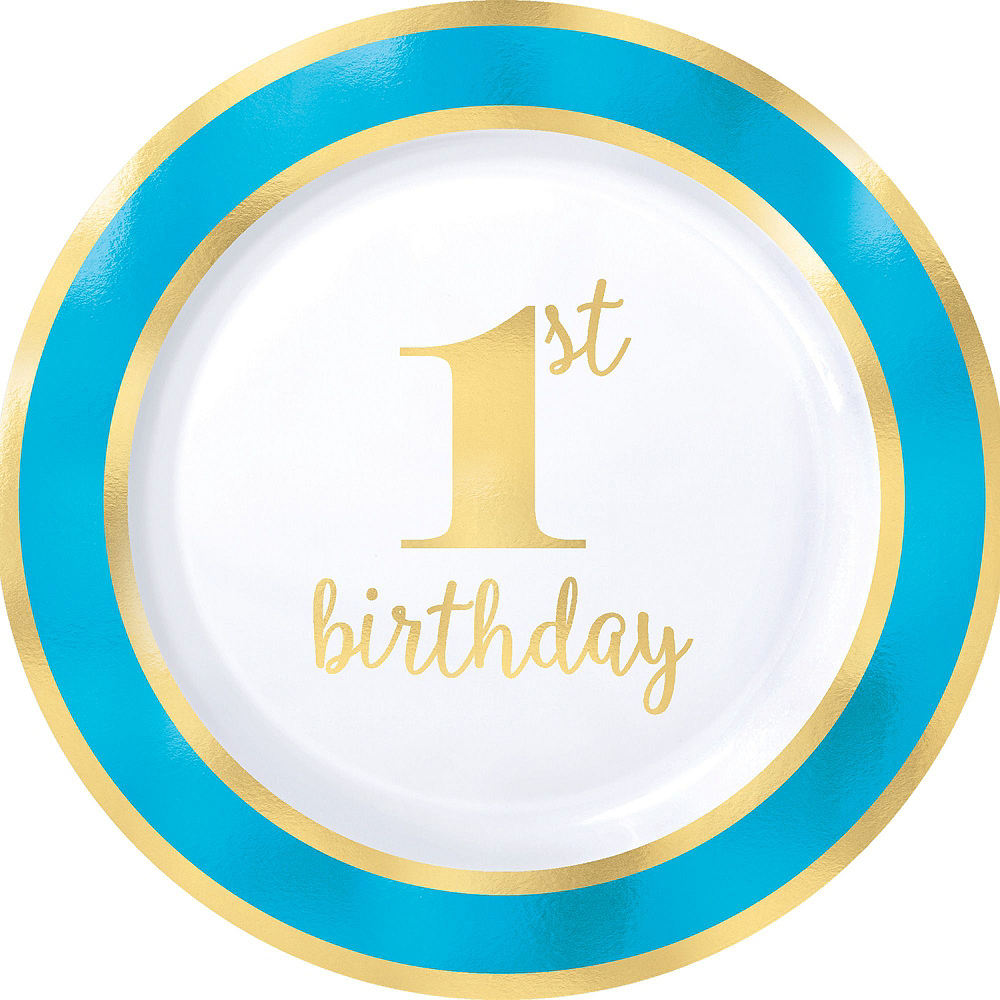 Blue & Gold Premium 1st Birthday Party Kit for 10 Guests Image #6
