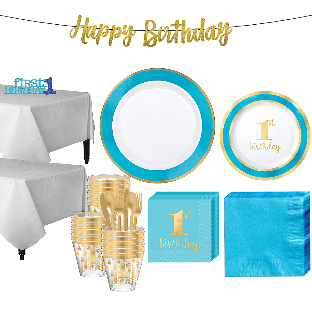 Blue & Gold Premium 1st Birthday Party Kit for 20 Guests Image #1