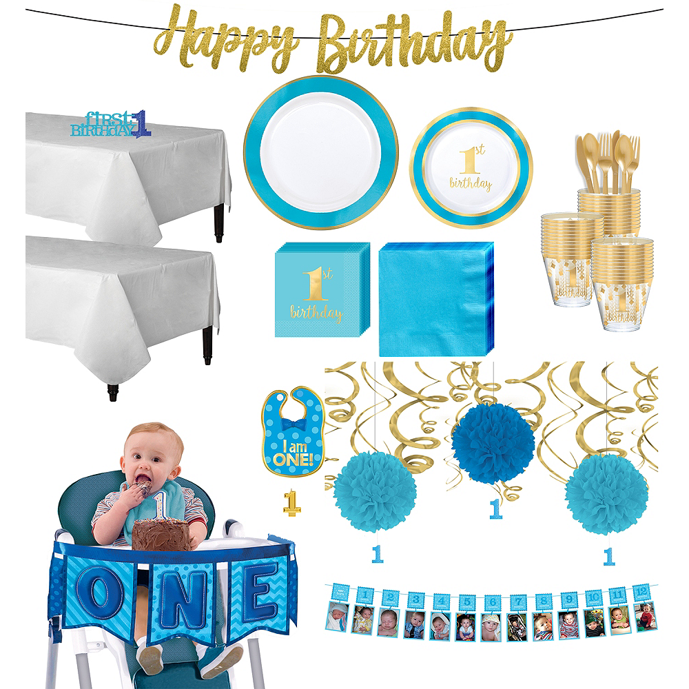 Blue & Gold Premium 1st Birthday Deluxe Party Kit for 20 Guests Image #1