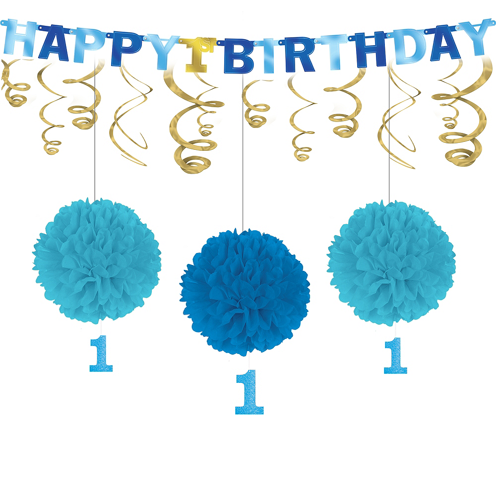 Blue Gold 1st Birthday Decorating Kit Image