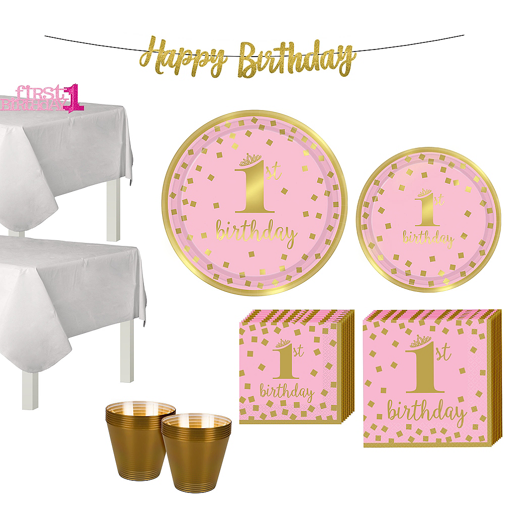 Nav Item For Pink Gold Confetti Premium 1st Birthday Party Kit 16 Guests Image