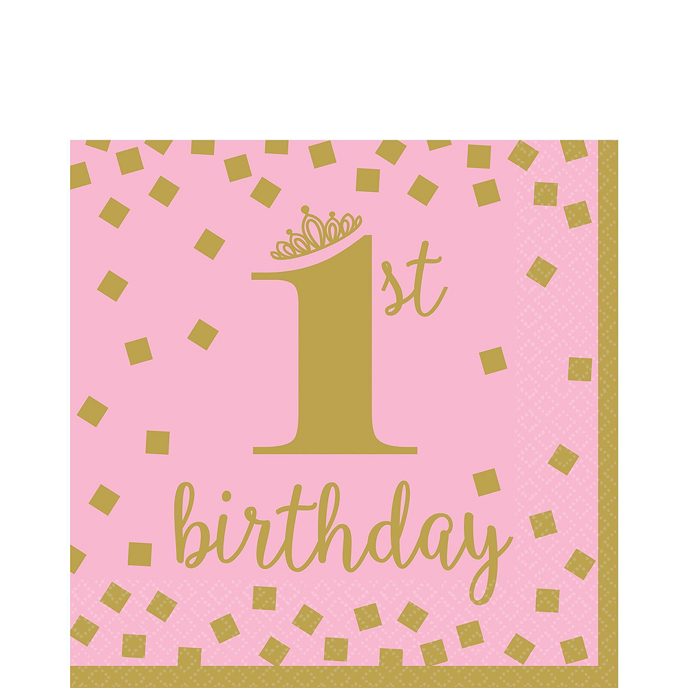 Pink & Gold Confetti Premium 1st Birthday Party Kit for 16 Guests Image #5