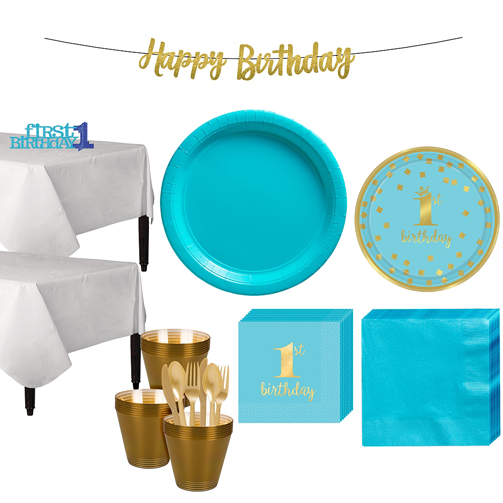 Blue & Gold Confetti Premium 1st Birthday Party Kit for 32 Guests Image #1