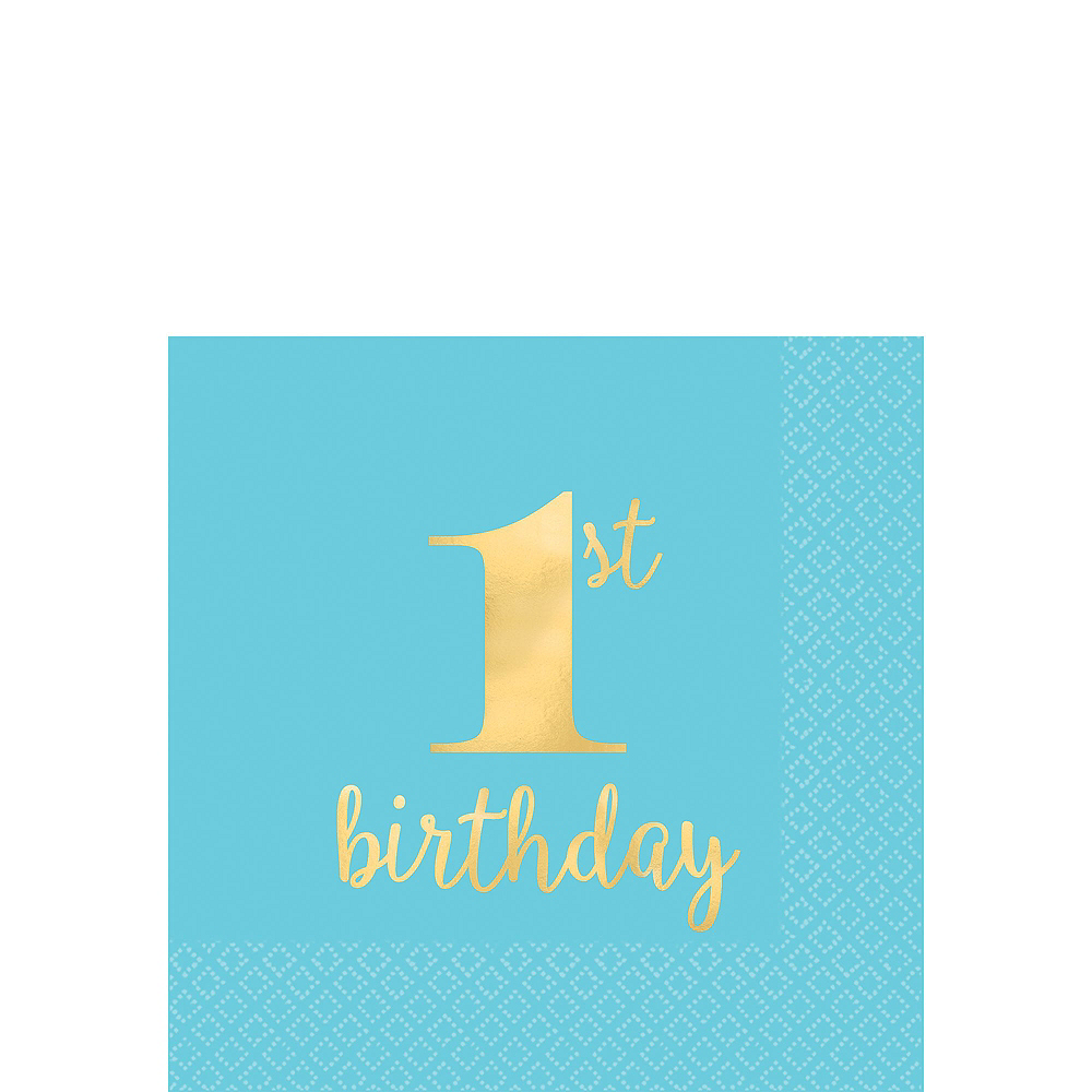 Blue & Gold Confetti Premium 1st Birthday Party Kit for 32 Guests Image #9