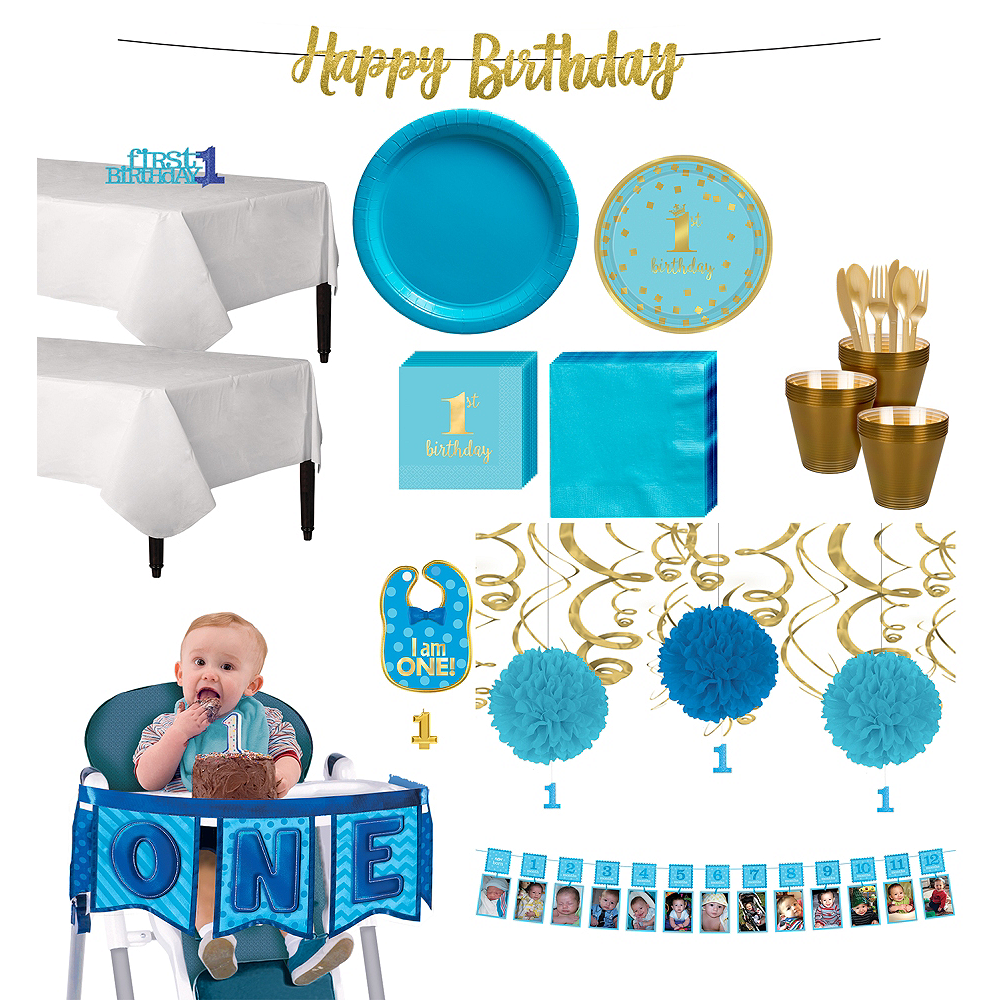 Blue & Gold Confetti Premium 1st Birthday Deluxe Party Kit for 32 Guests Image #1