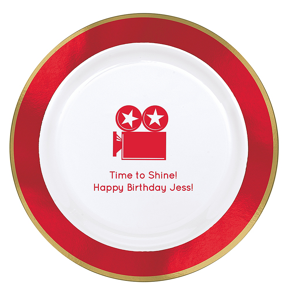 Personalized Hollywood Premium Round Trimmed Dinner Plates Image #1