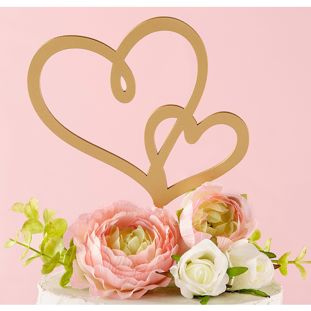 Gold Hearts Cake Topper 6in x 8 1/2in | Party City