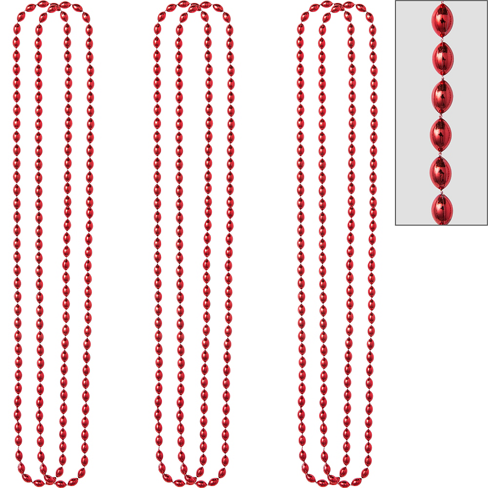Metallic Red Bead Necklaces 10ct Image #1