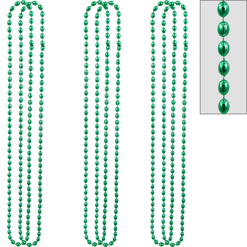 Metallic Green Bead Necklaces 10ct Image #1