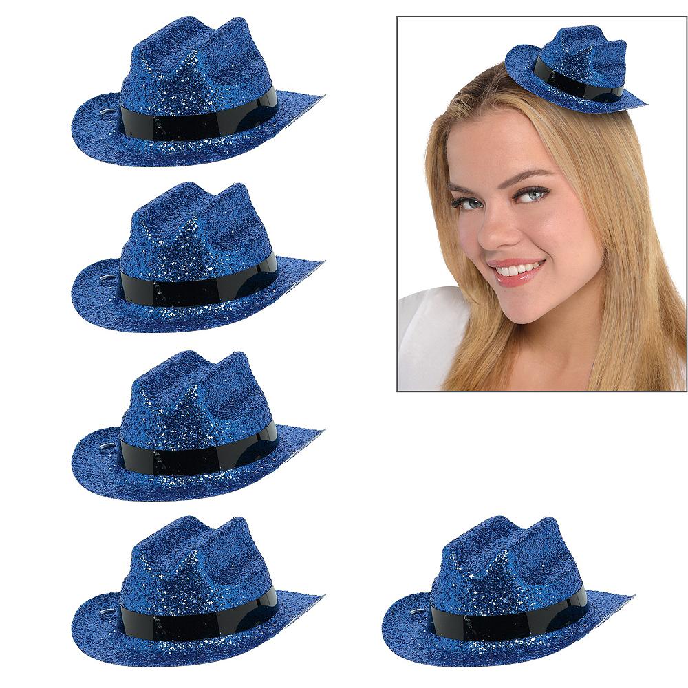 Blue Glitter Mini Cowboy Hats 10ct Image #1