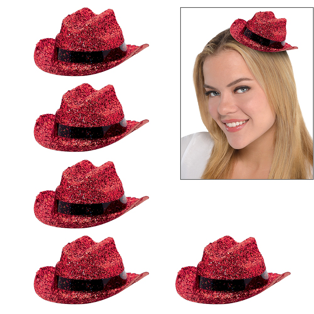 Red Glitter Mini Cowboy Hats 10ct Image #1