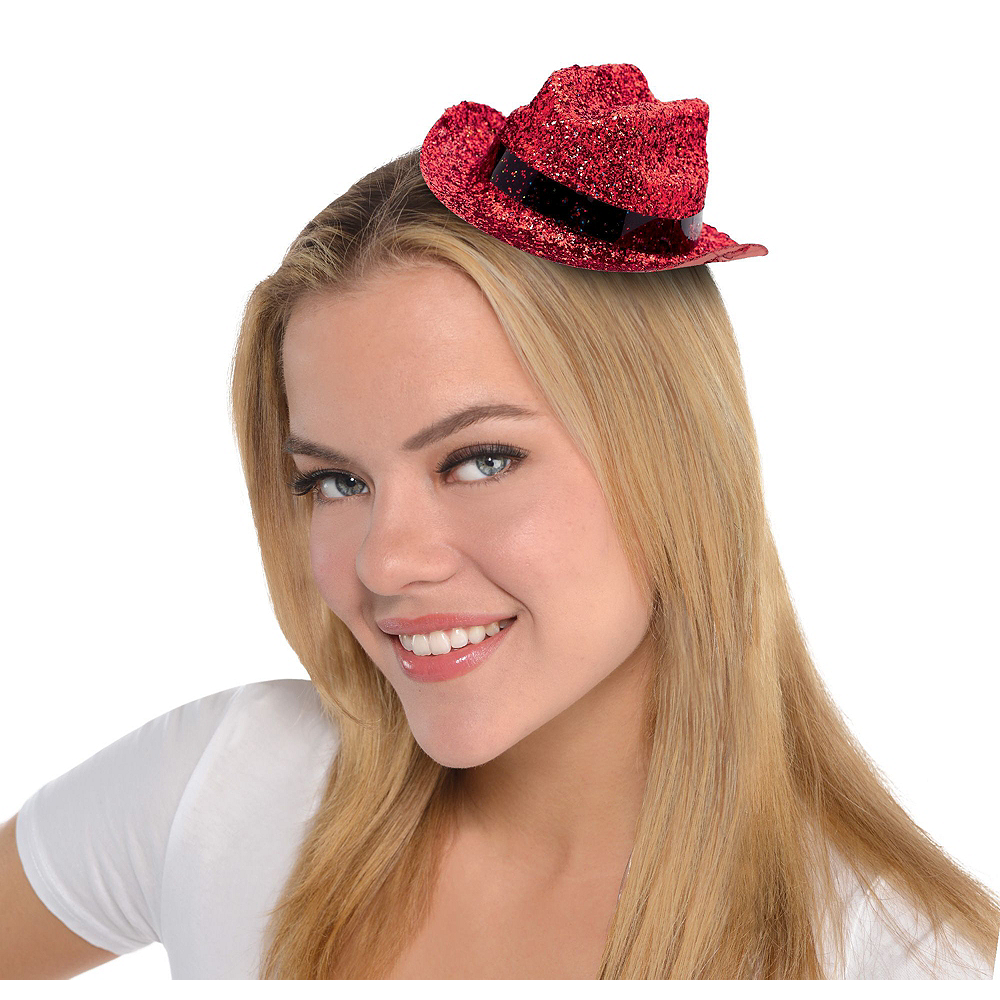 Red Glitter Mini Cowboy Hats 10ct Image #2