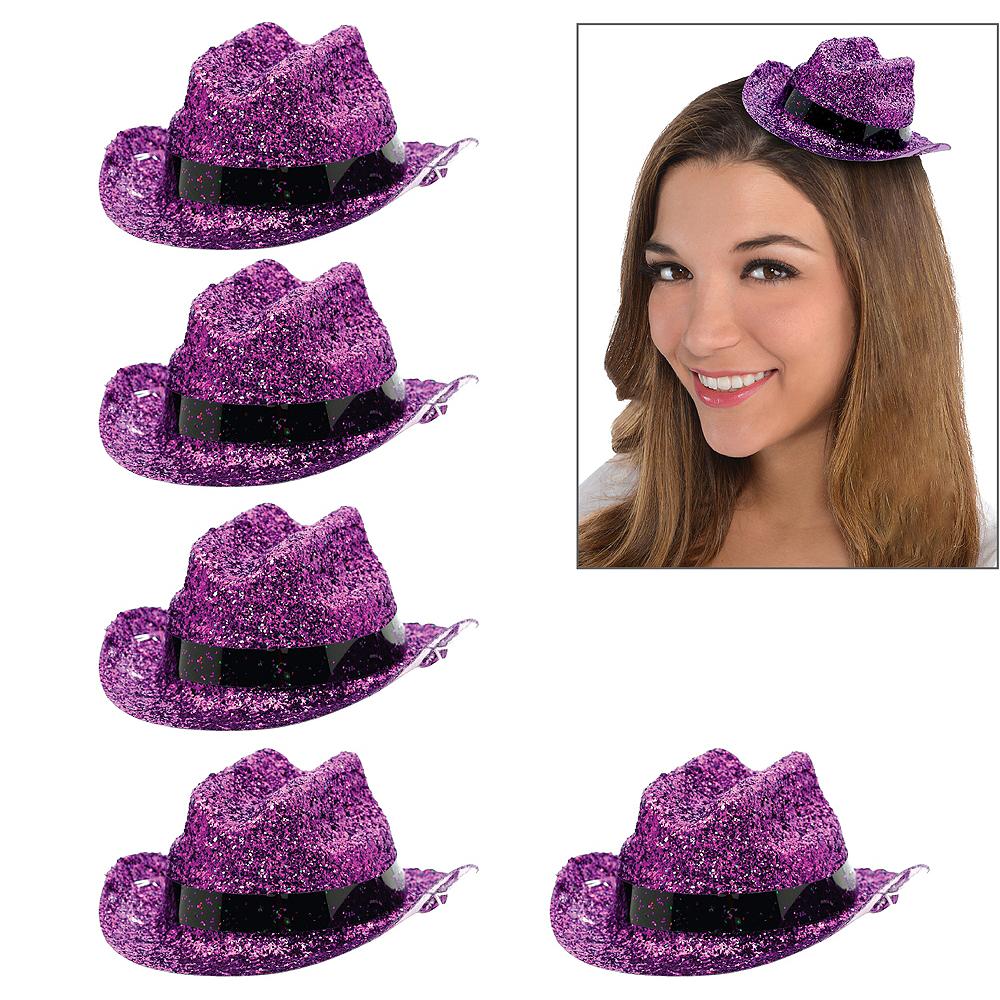 Purple Glitter Mini Cowboy Hats 10ct Image #1