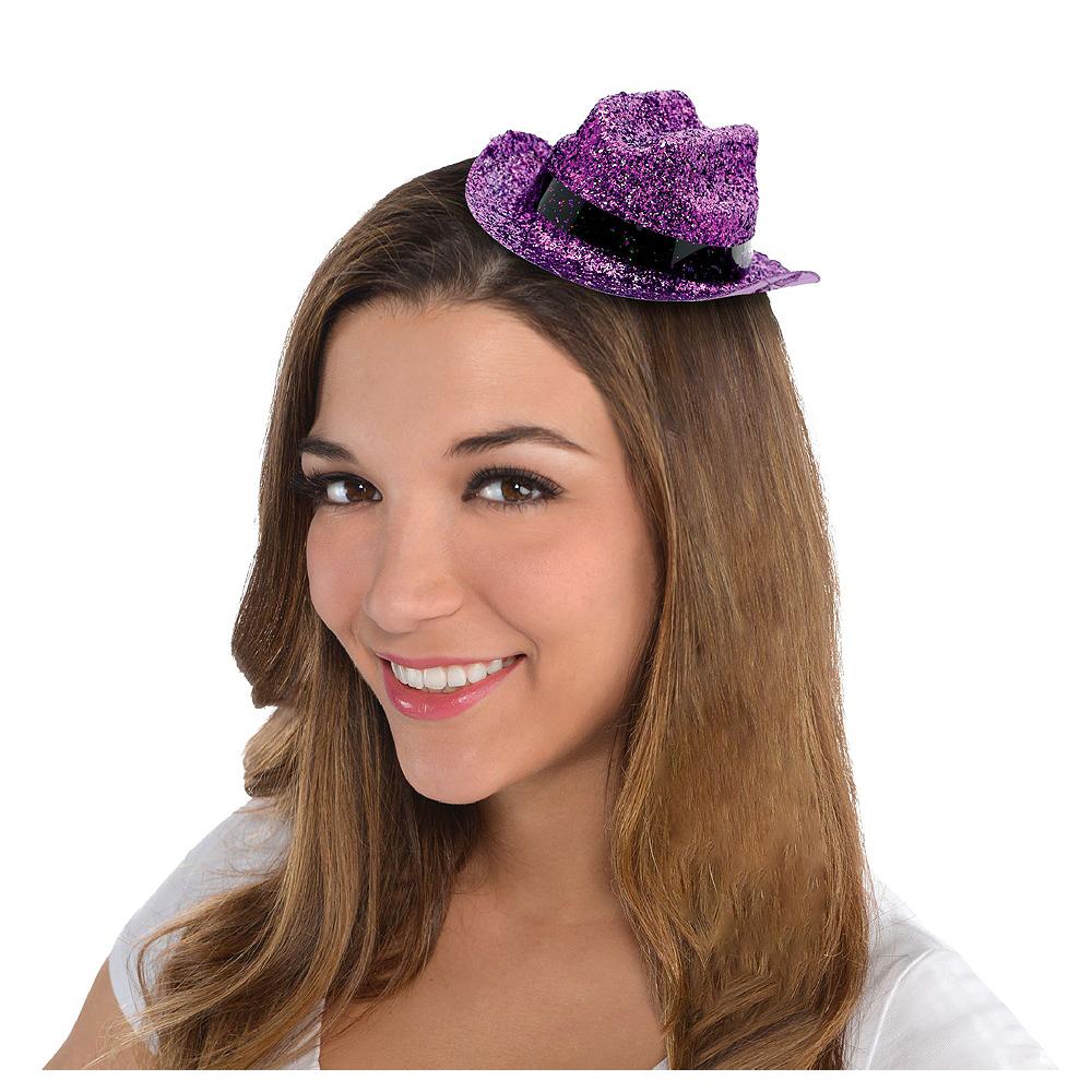 Purple Glitter Mini Cowboy Hats 10ct Image #2