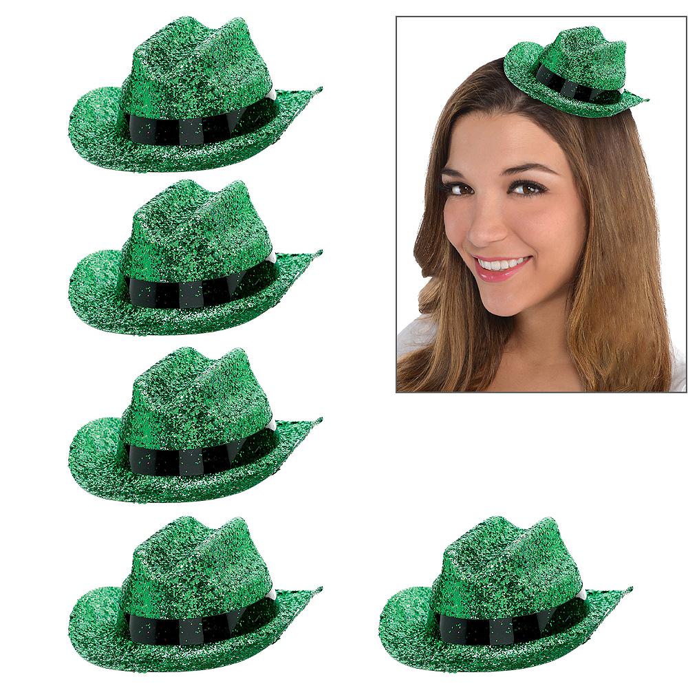 Green Glitter Mini Cowboy Hats 10ct Image #1