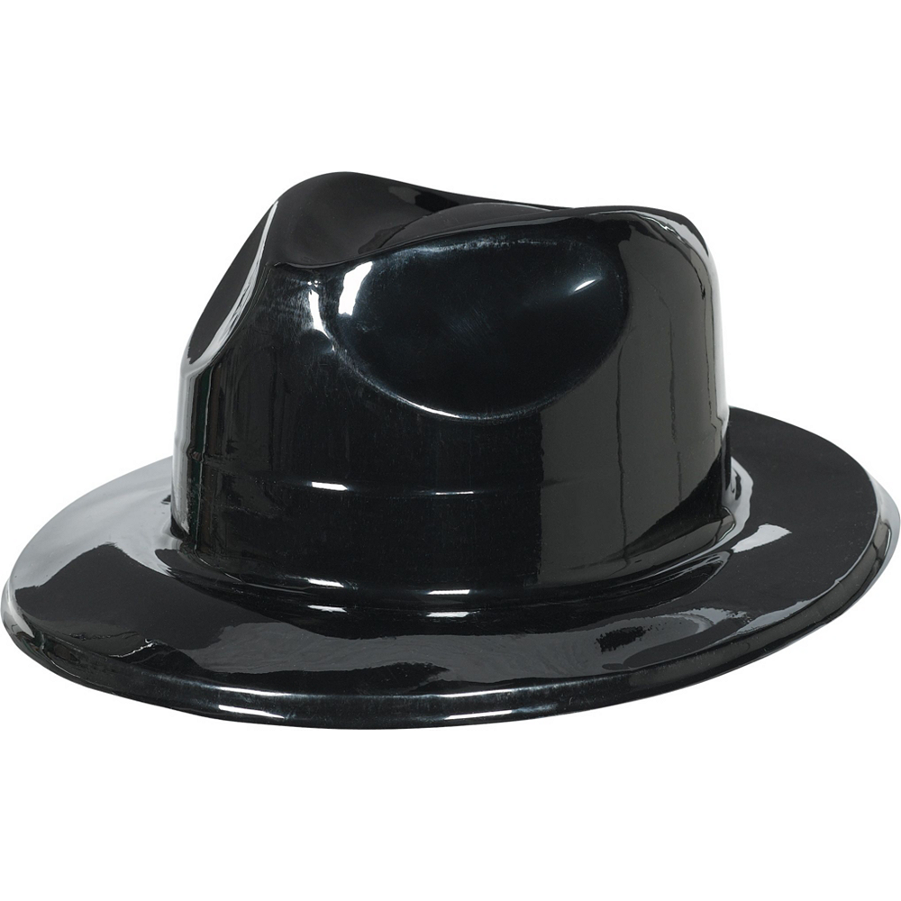 Shiny Black Fedoras 10ct Image #2