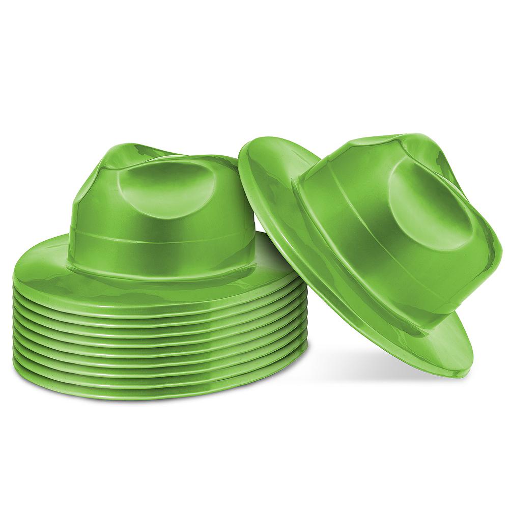 Shiny Green Fedoras 10ct Image #1