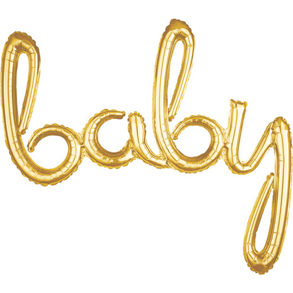 Air-Filled Gold Baby Cursive Letter Balloon Banner, 33in Image #1