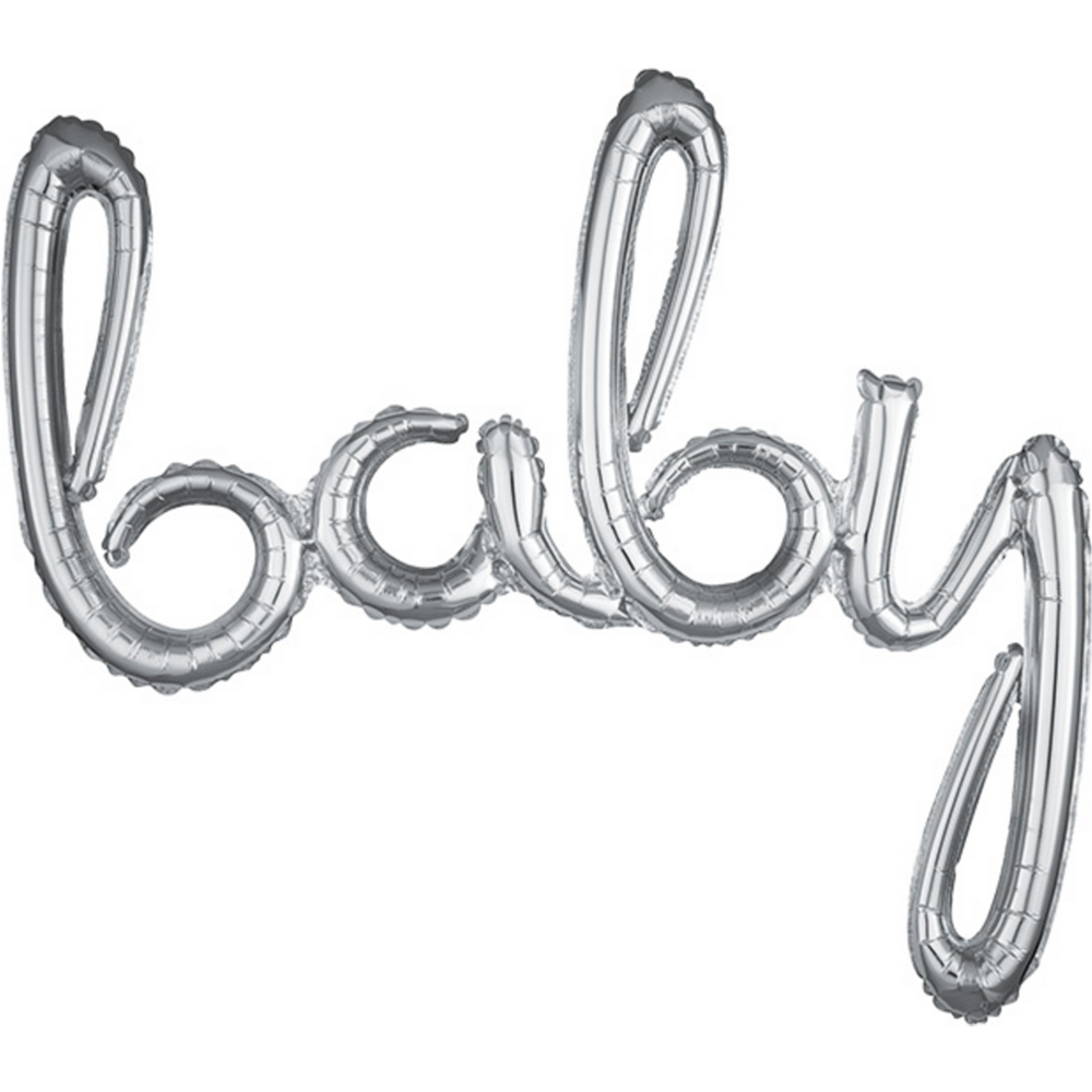 Air-Filled Silver Baby Cursive Letter Balloon Banner Image #1