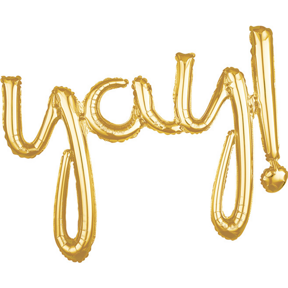 Air-Filled Gold Yay Cursive Letter Balloon Banner Image #1