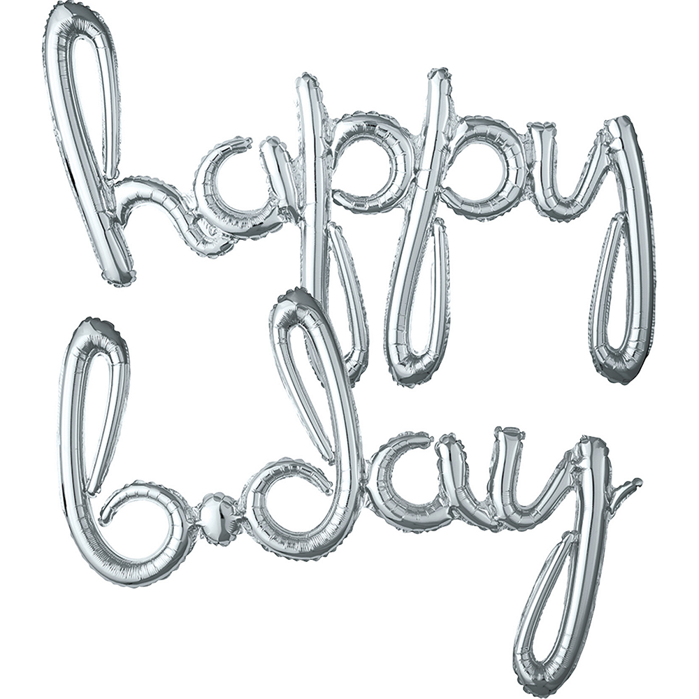 Nav Item for Air-Filled Silver Happy B-Day Cursive Letter Balloon Banners 2ct Image #1