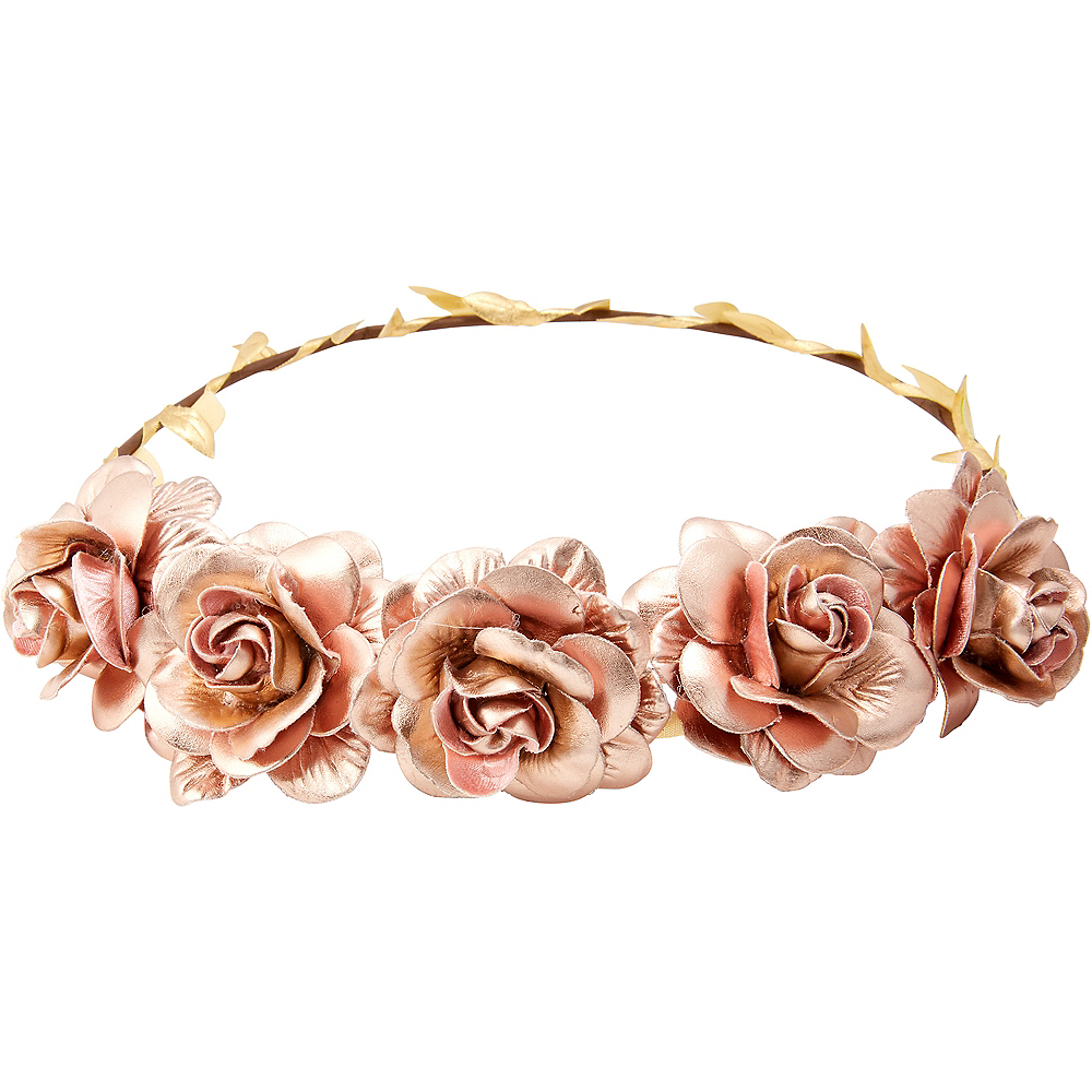 Child Metallic Pink Flower Crown Image #1