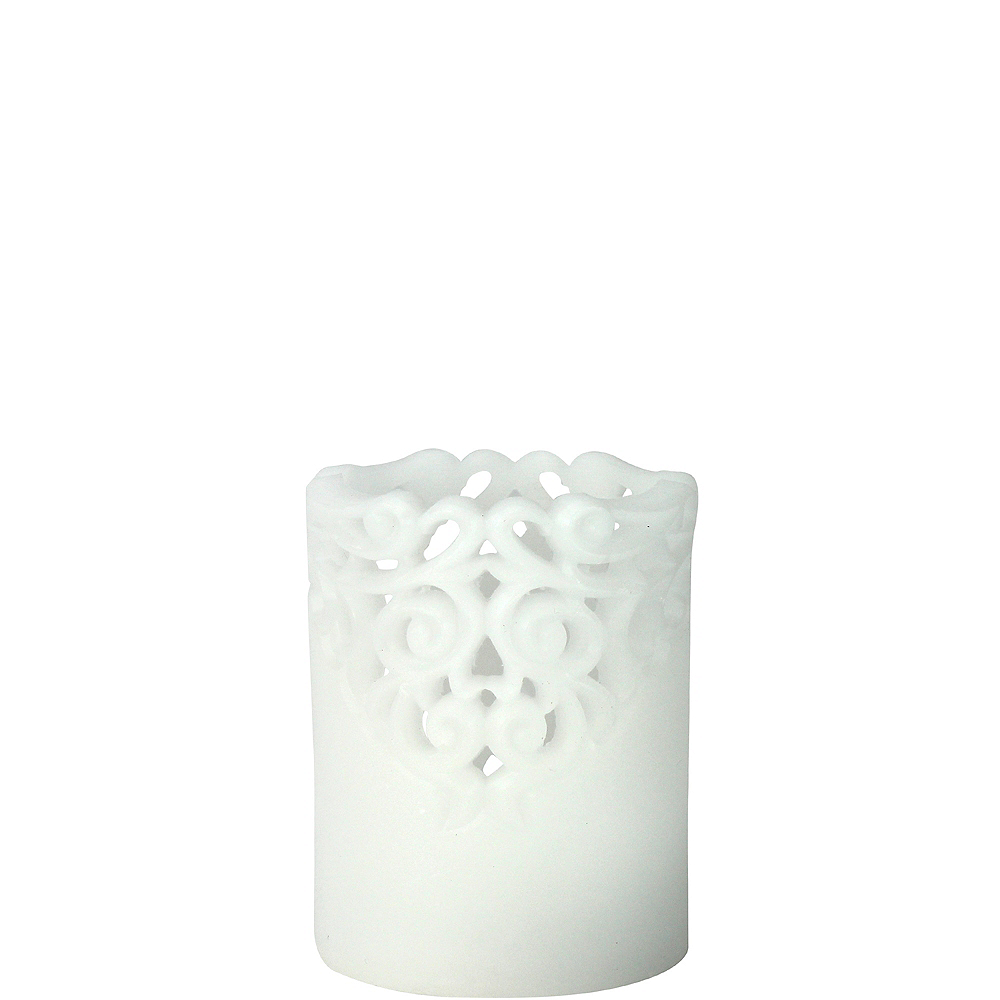 Short White Lace Pillar Flameless LED Candle Image #1