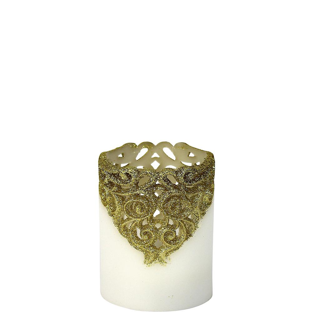 Short Gold Glitter Lace Pillar Flameless LED Candle Image #1